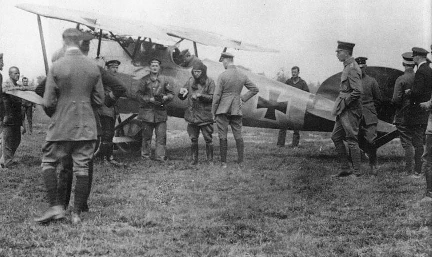 Manfred Von Richtofen in early 1918 in his Albatross Biplane.