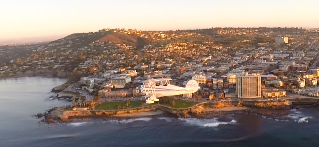 Aubry is flying next to La Jolla Cove, this is the best view in the house!