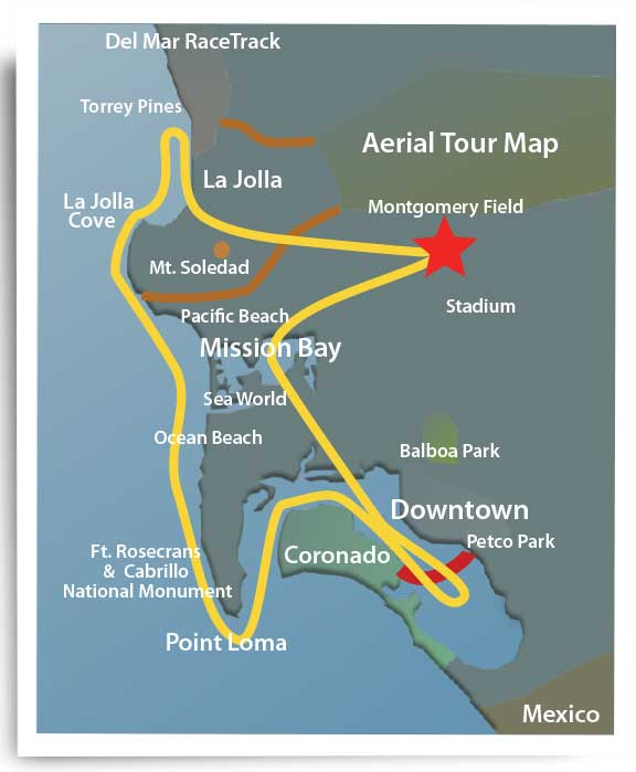 Aerial Tour map of San Diego. We have multiple options. Great airplane ride for friends, family or a date!