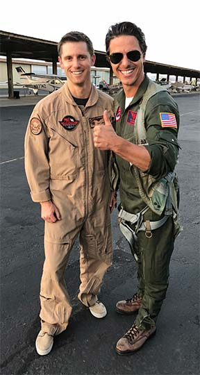 Maverick from Top Gun with an aerial tour pilot
