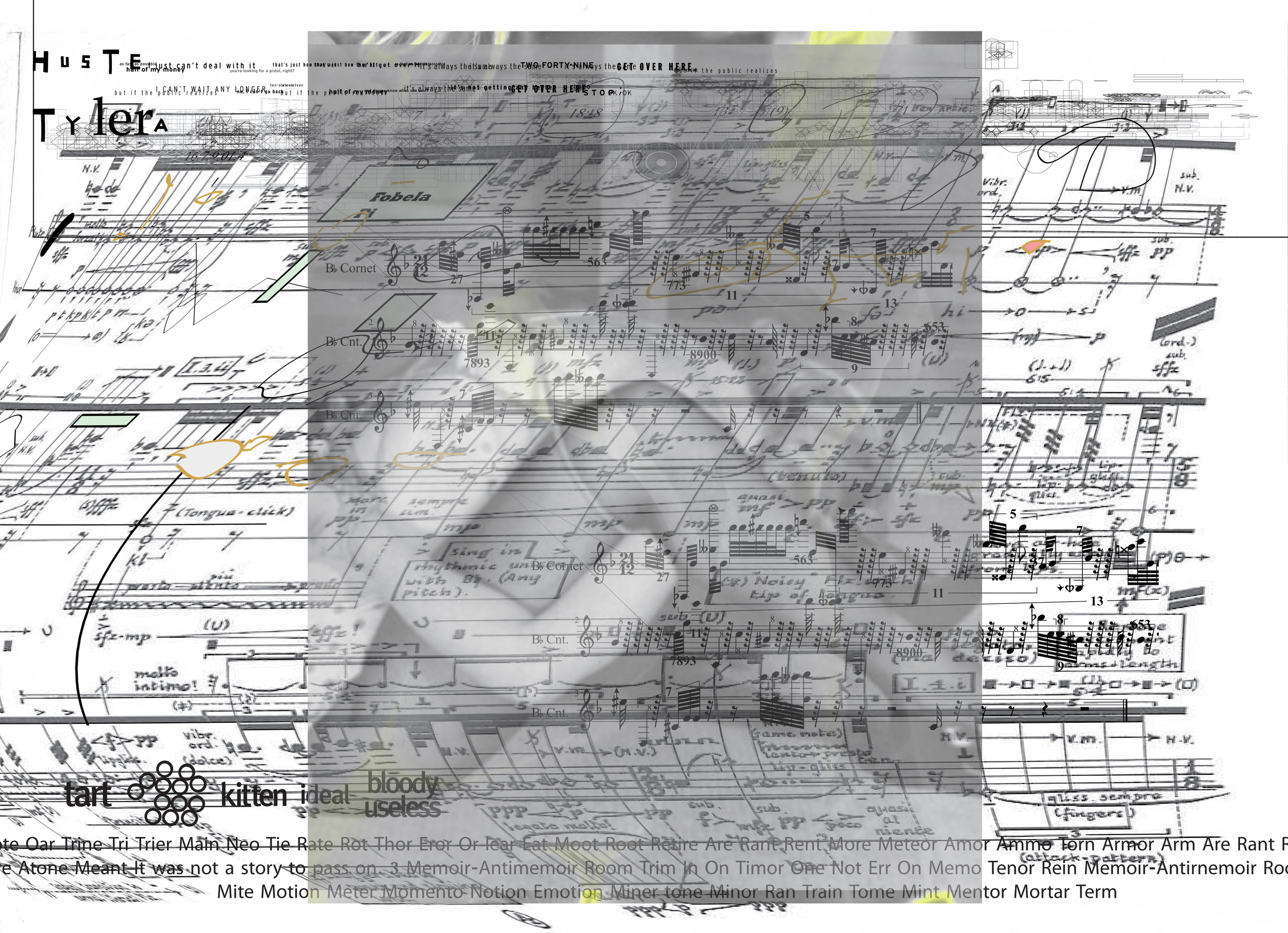 """SCORE: """"The Conjunction of Her Thighs with the Titanium Tipped Instrument Heads"""" Scored for Violin, Viola de Gamba, B Flat Cornet, Single Voice (Mezzo Soprano), and Vibraphone. 2013"""