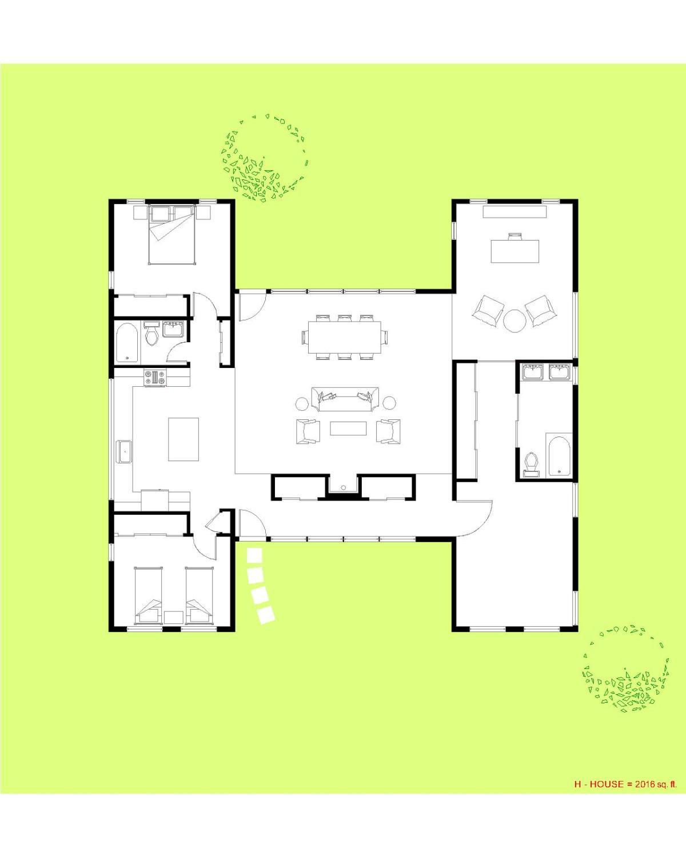 Trillium Architects H House 1 story modern Floor Plan