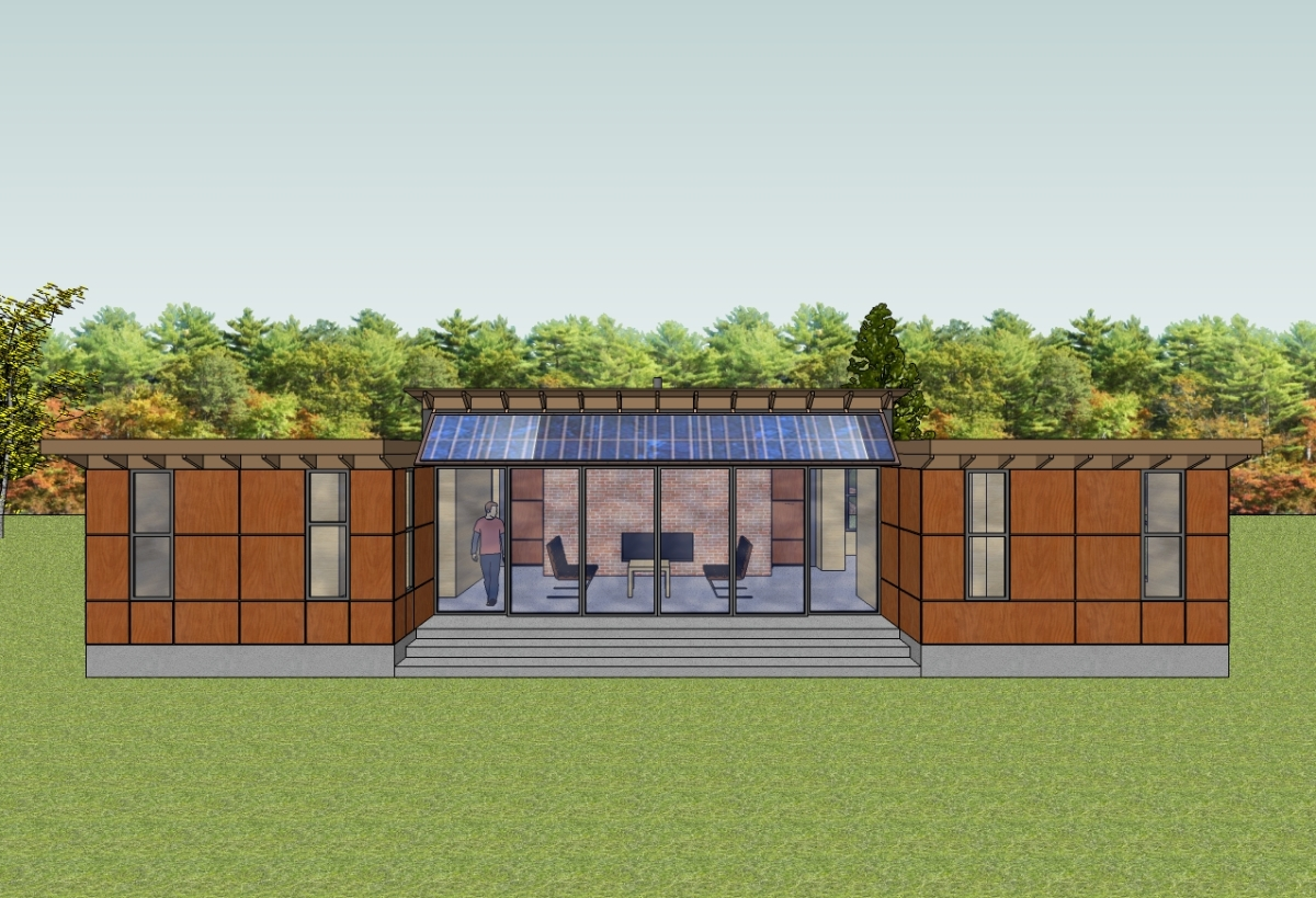 Trillium Architects H House 1 story modern exterior rear of house plans