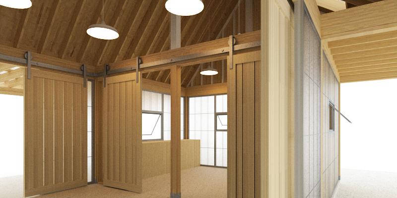 Trillium Architects urban shed interior plans