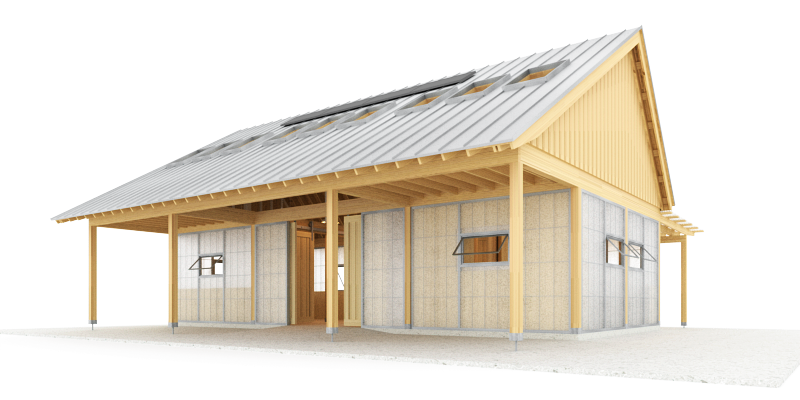 Trillium Architects exterior urban shed front angled plans