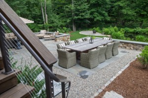 The family makes the most of the outdoor space with a large entertaining area.