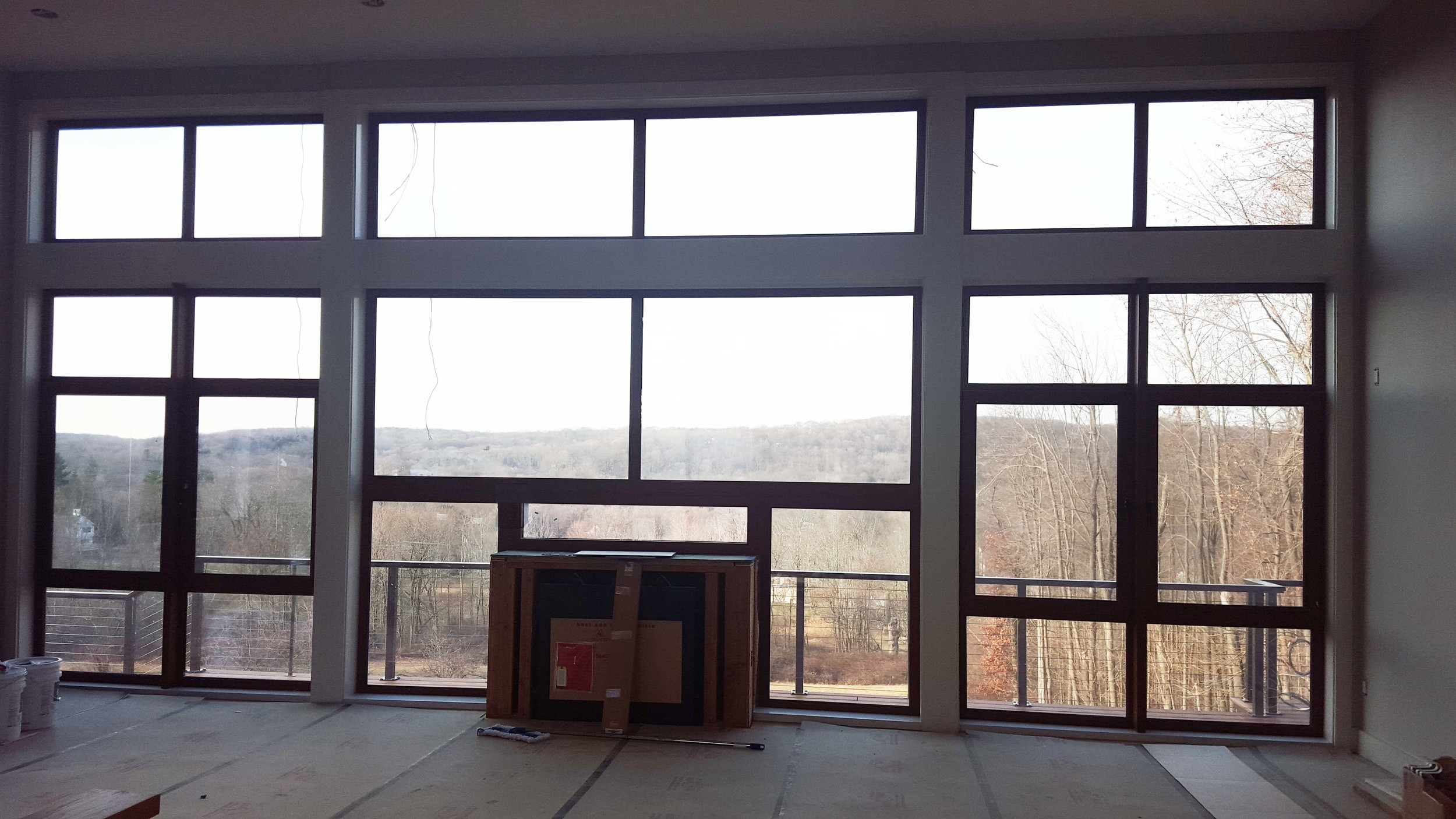Fireplace and flooring installed.  Breathtaking views abound.