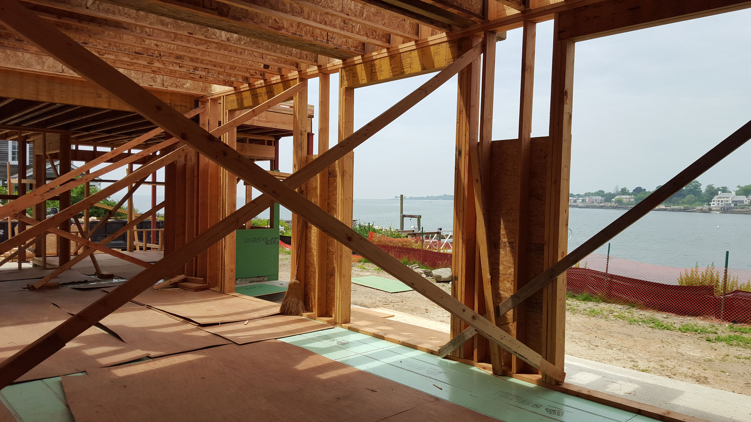 A Stamford home with a water view, under construction.