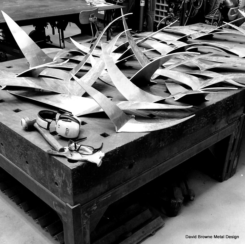 Progress on Birds of Flight sculpture.