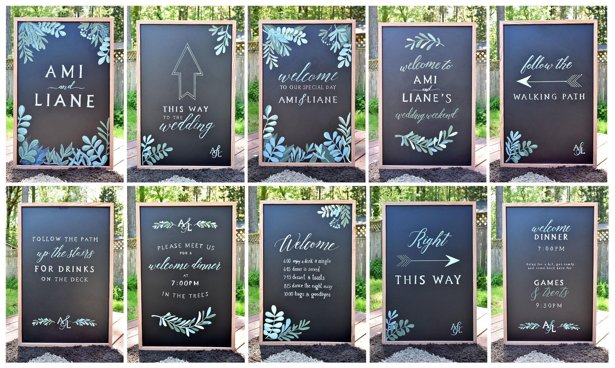Hand Drawn Chalkboard Signs for Wedding