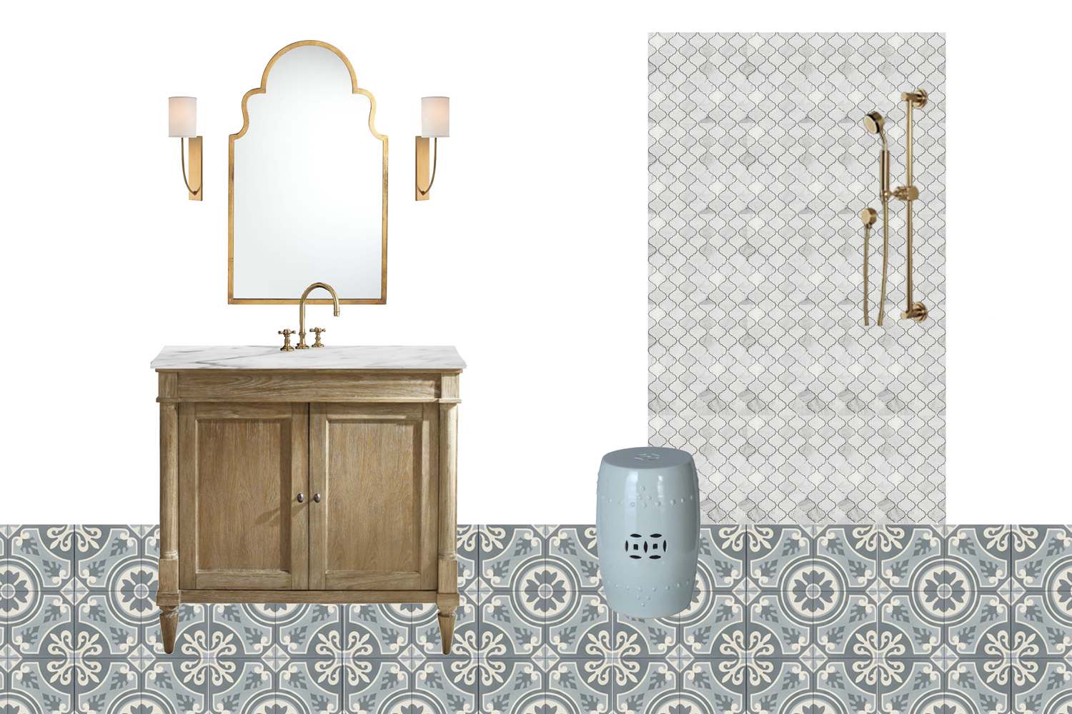 For the guest bathroom, they wanted to incorporate cement tile. The wife loves the colorway of this pattern, and the husband said it reminds him of tiles he's seen in Damascus. He's from Syria, so they consider this bathroom a nod to his heritage.
