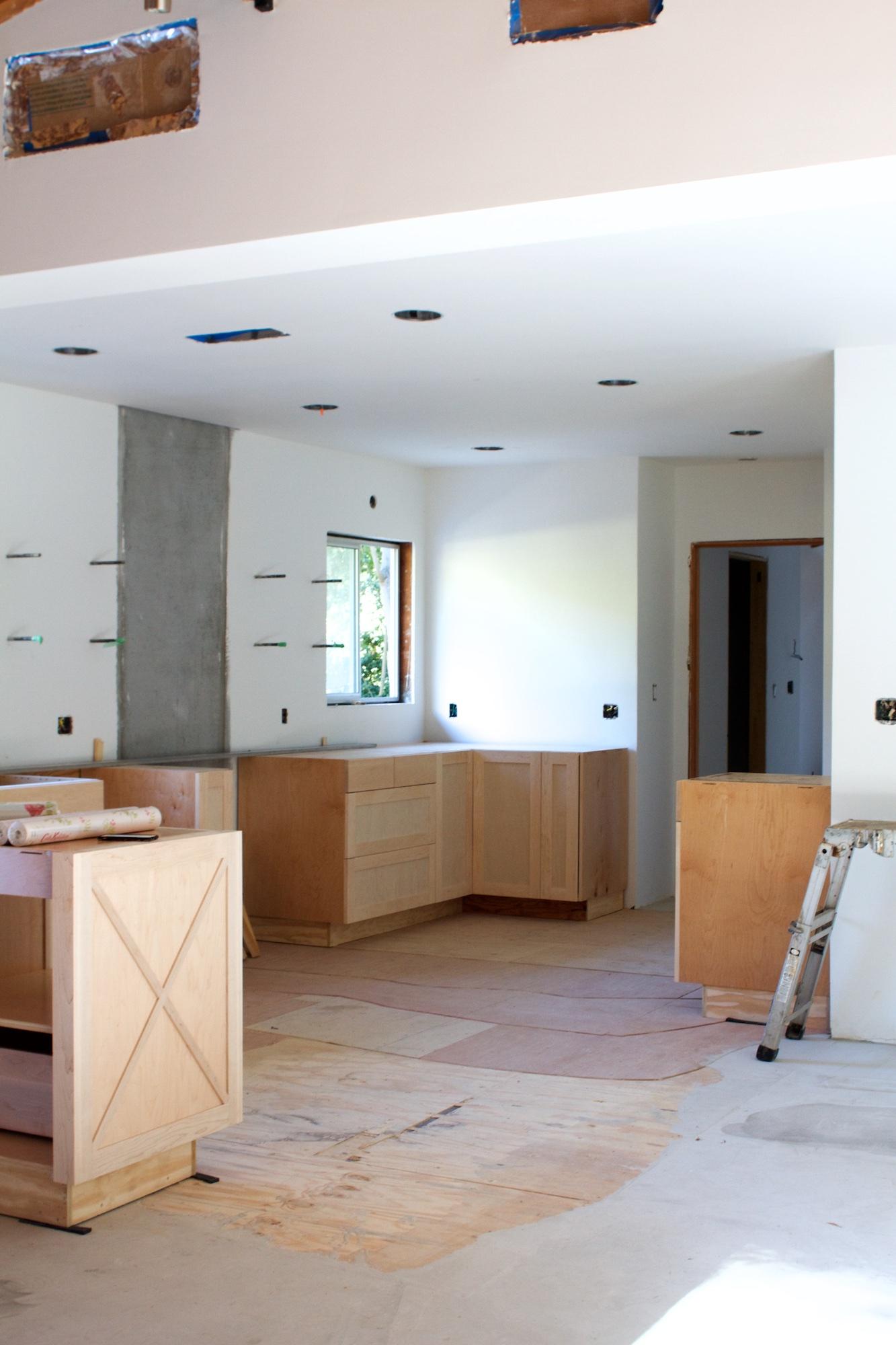 New kitchen cabinets and prep for backsplash