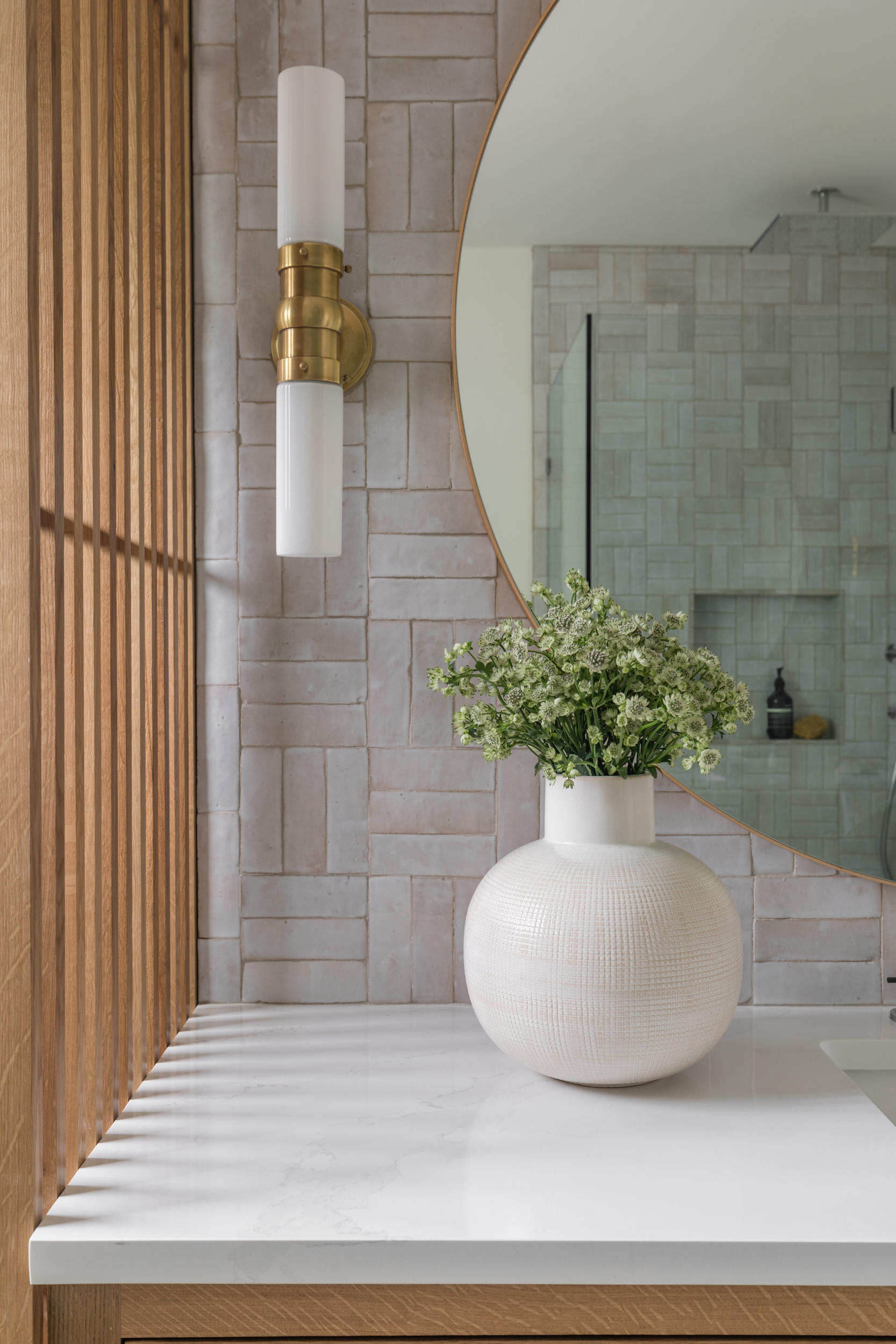 Lauren Bradshaw Design Master Bathroom Basketweave Tile