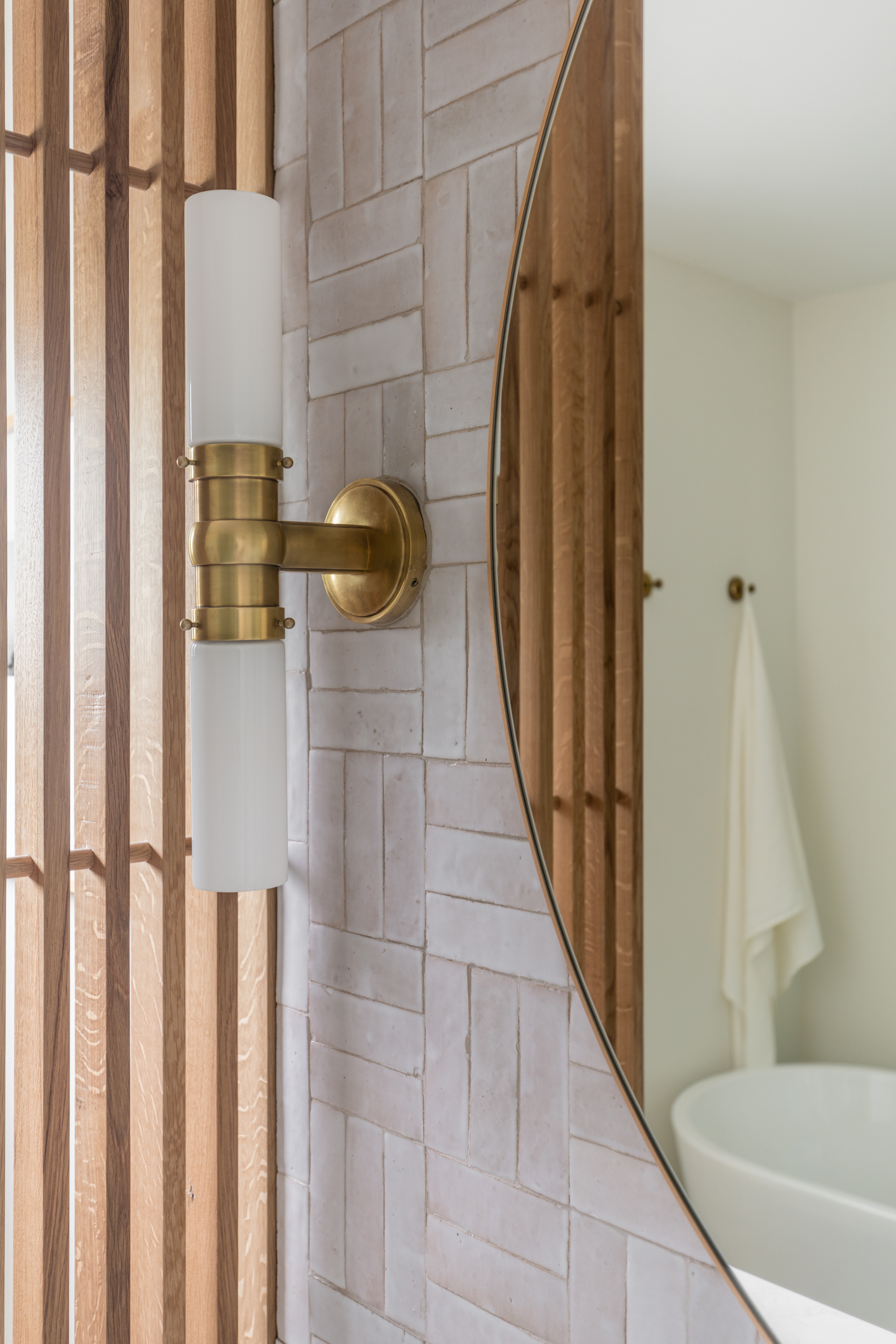 Lauren Bradshaw Design Master Bathroom Custom Slat Wall