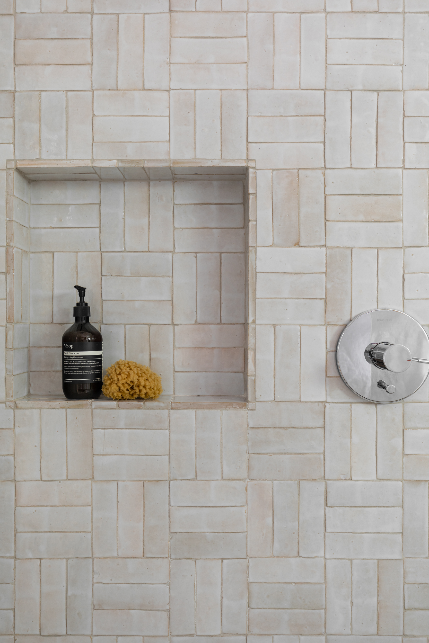 Lauren Bradshaw Design Master Bathroom Shower Basketweave Handmade Tile