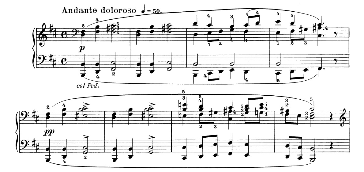 """Opening bars from """"The Death of Ase"""" from Grieg's   Peer Gynt Suite No. 1, Op. 46  (Grieg's own piano transcription from the orchestral version)."""