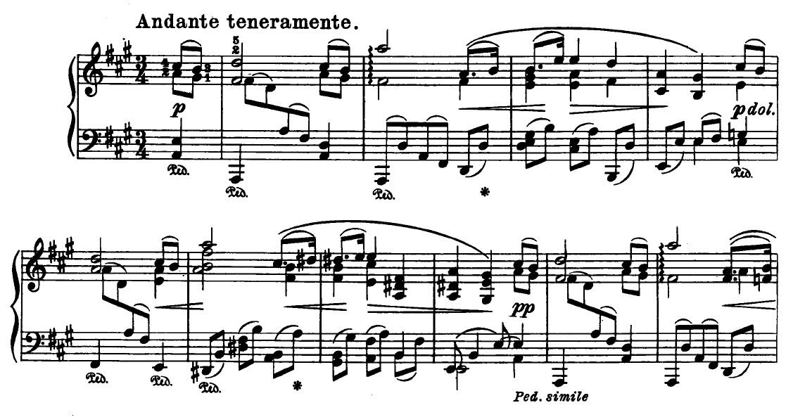 The opening bars of Brahms'  Intermezzo, Op. 118 No. 2