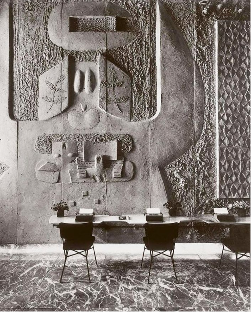 Sand cast relief at Olivetti showroom in NY 1954 by Costantino Nivola. Via Picking_la.png