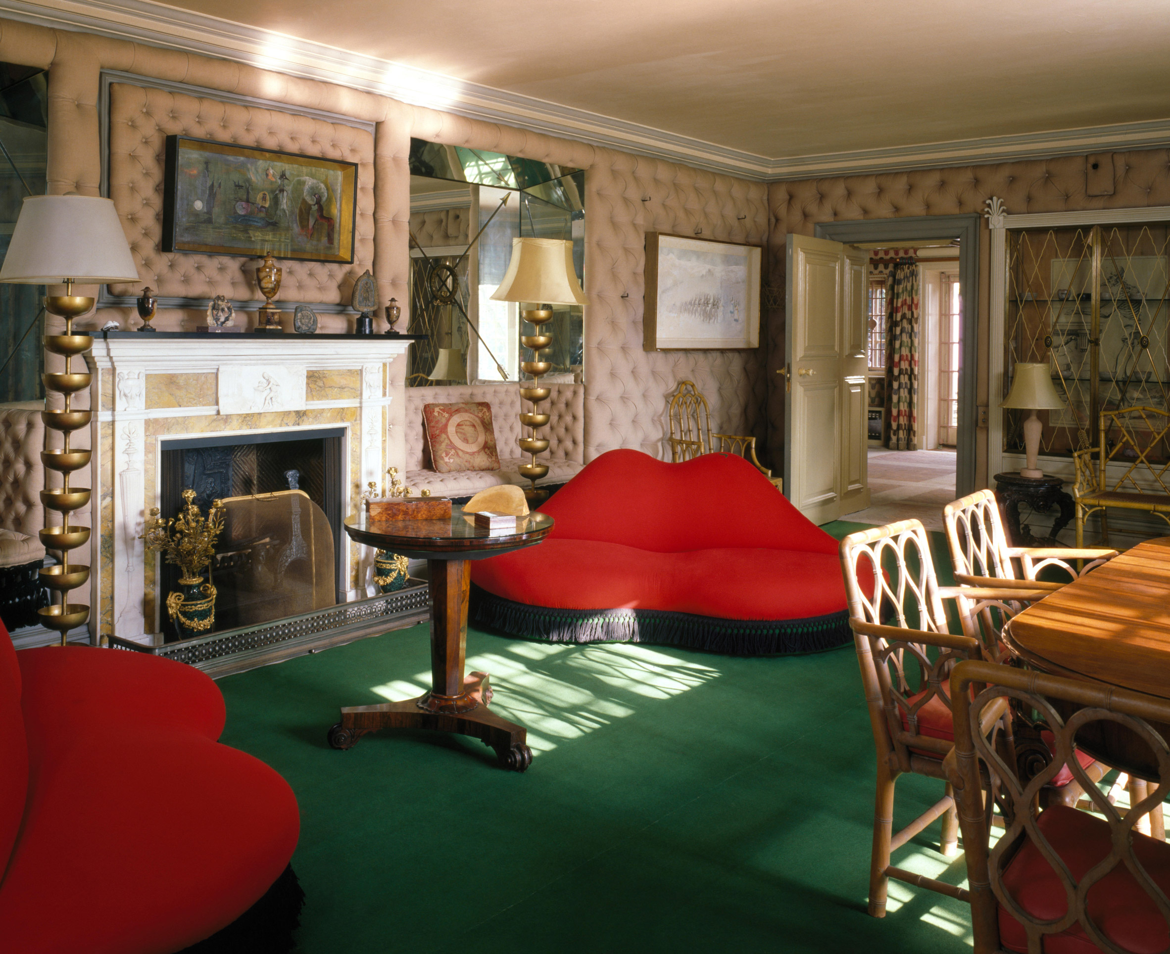 The Mae West Lips sofas in drawing room of Edward James's Monkton House.jpg