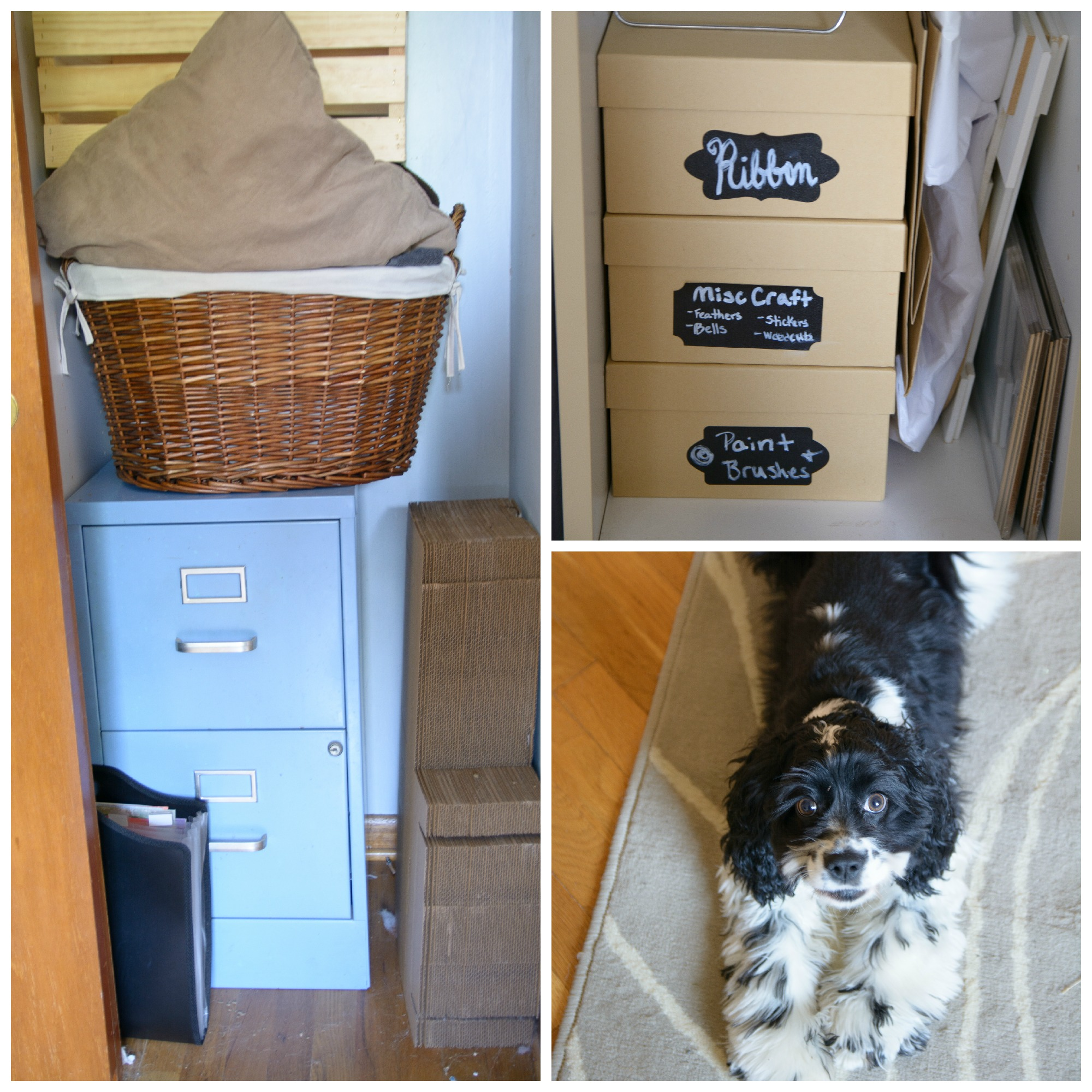 The closet holds some more craft supplies and the larger photography props. Tirzah is also a frequent visitor of my creative space!