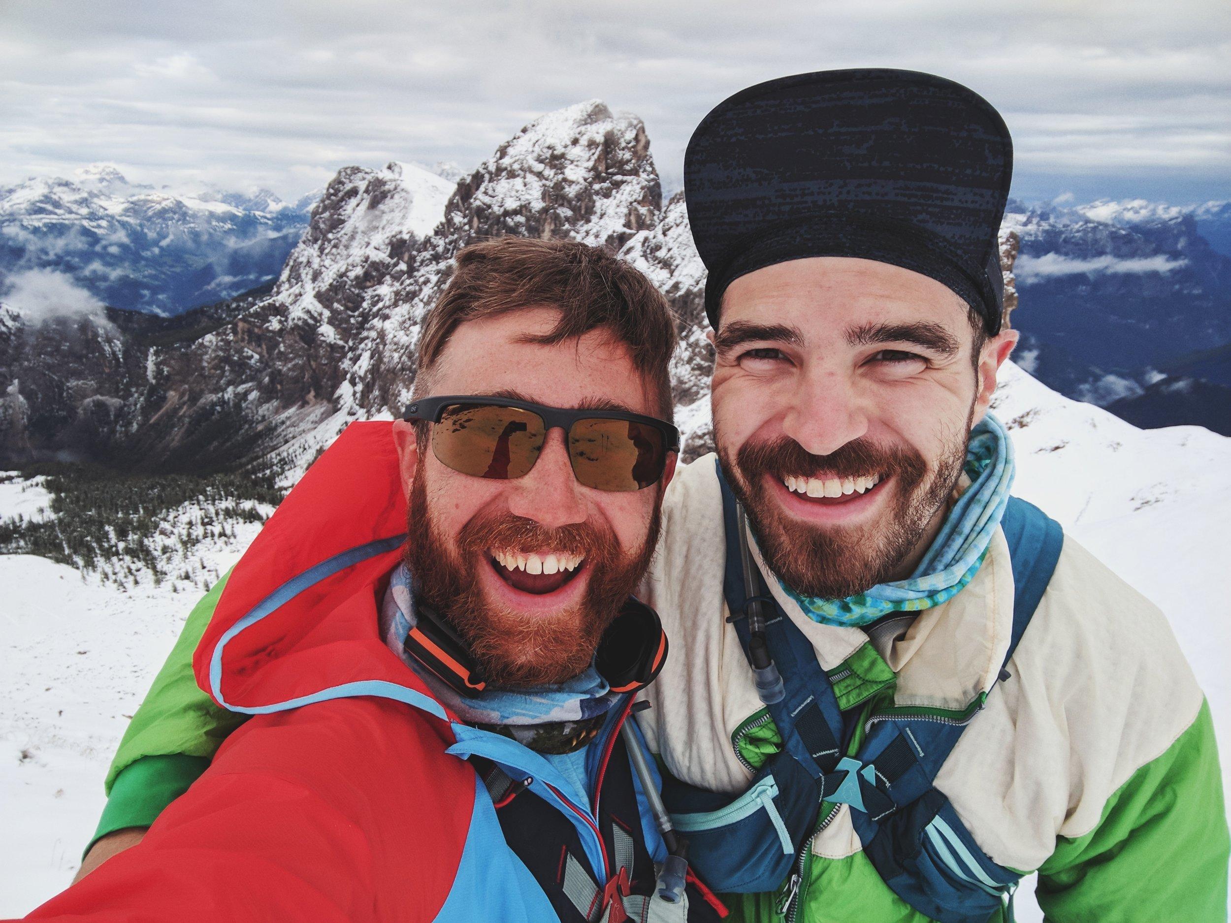 Chris & Orey atop an un-expectedly snow-covered pass along the Alta Via No. 2