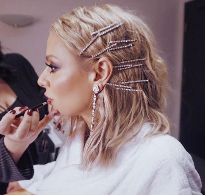 "DORIT KEMSLEY / REAL HOUSEWIVES OF BEVERLY HILLS    Sparkle Princess bobby pins  featured on Dorit Kemsley, of ""Real Housewives of Beverly Hills."" Styled by celebrity superstylist Justine Marjan. (Photo Credit: Instagram @DoritKemsley)."