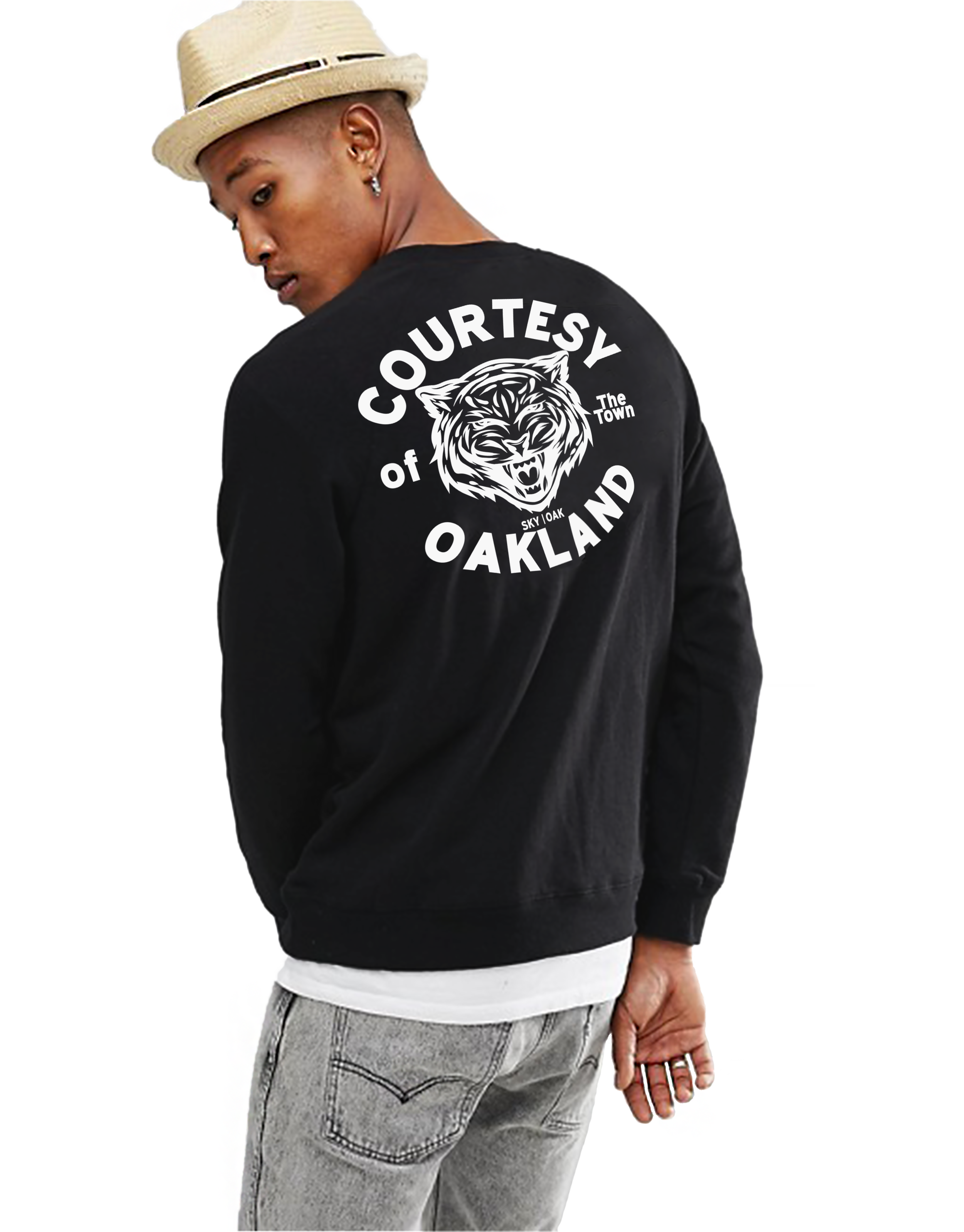 Sky Oak Co_Courtesy of Oakland_crewneck_black_white_model_rear_large_print_home_page.png
