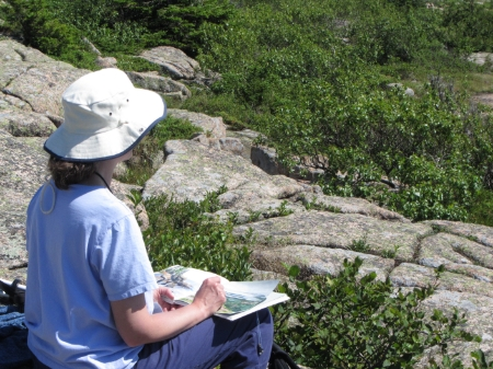 Sketching on Cadillac Mountain in Maine