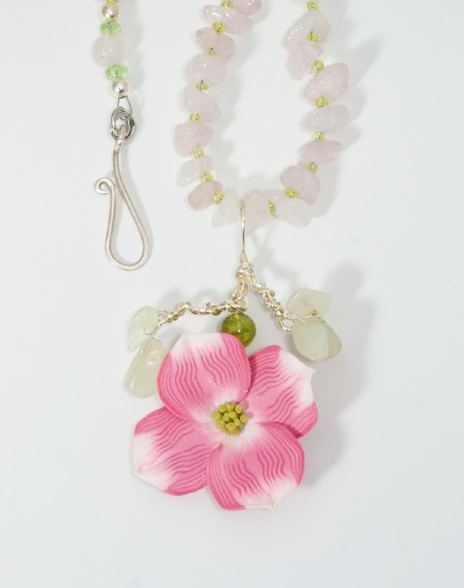 Pink Dogwood pendant