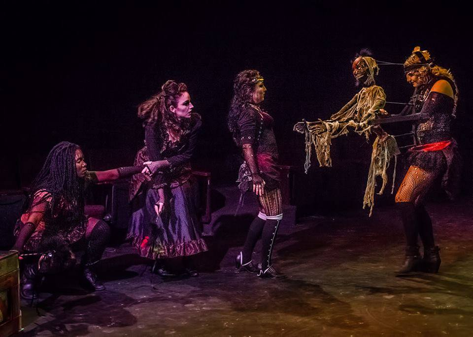 """Our """"Red Death""""monster,with Phantasmagoria's lovely Rachele Rees (the one on the far right). Special thanks to Chris Bridges for the photo, and Lisa Aislin for the creature aesthetics."""