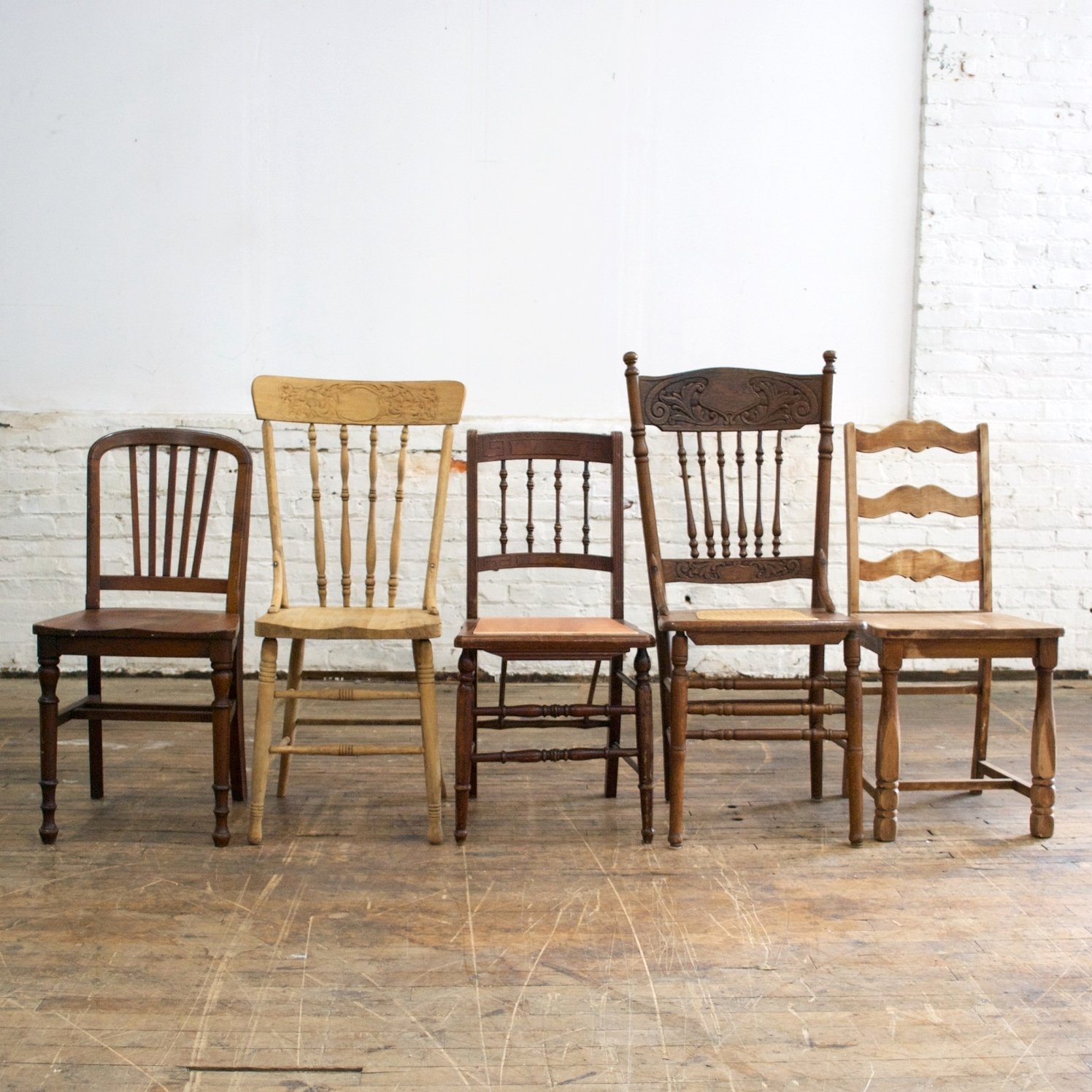 Mixed Natural Wood Chairs (160 available)    $8 each