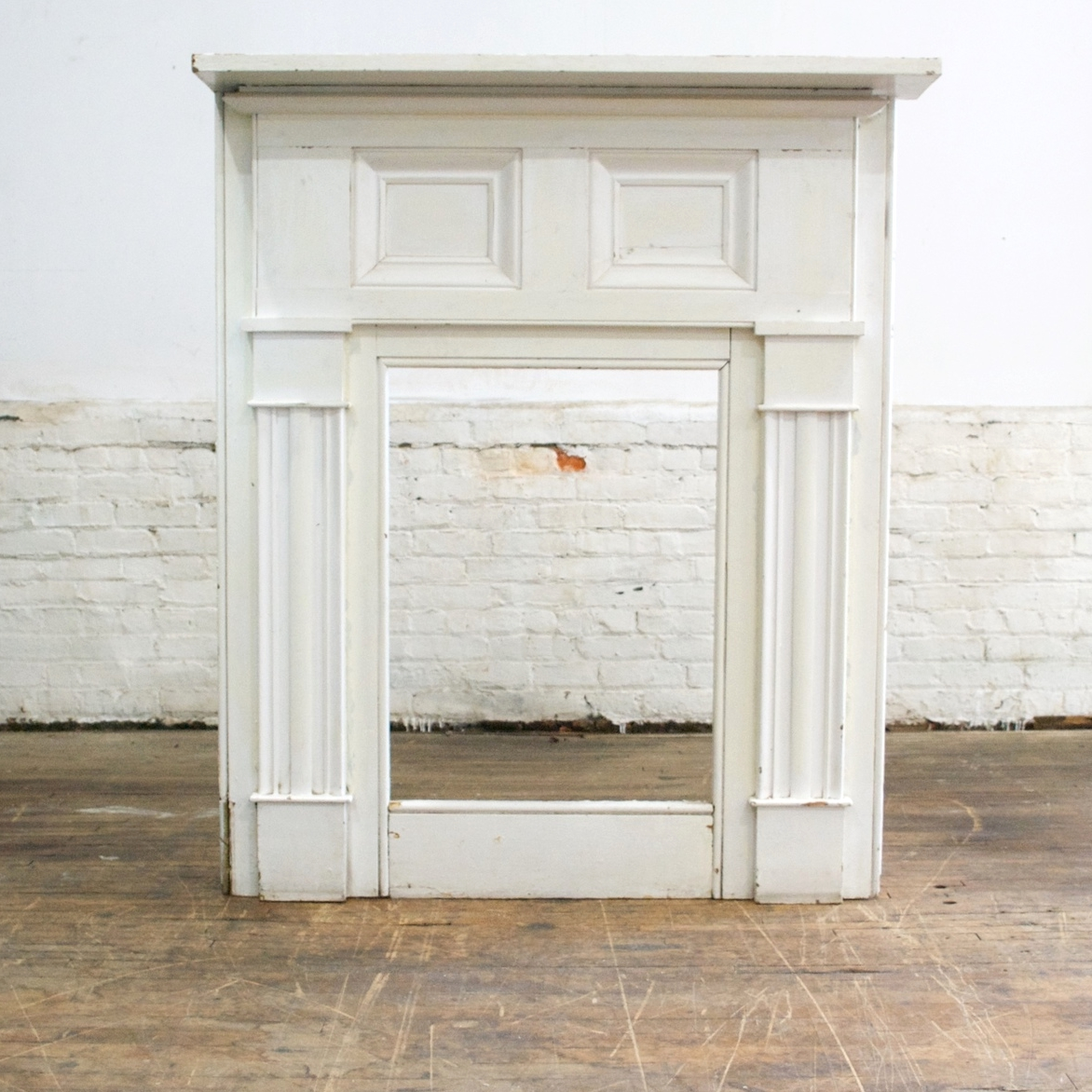 "Antique Mantel    $160    4' w, 56"" h, 29"" D, shelf 8 1/2"" d"