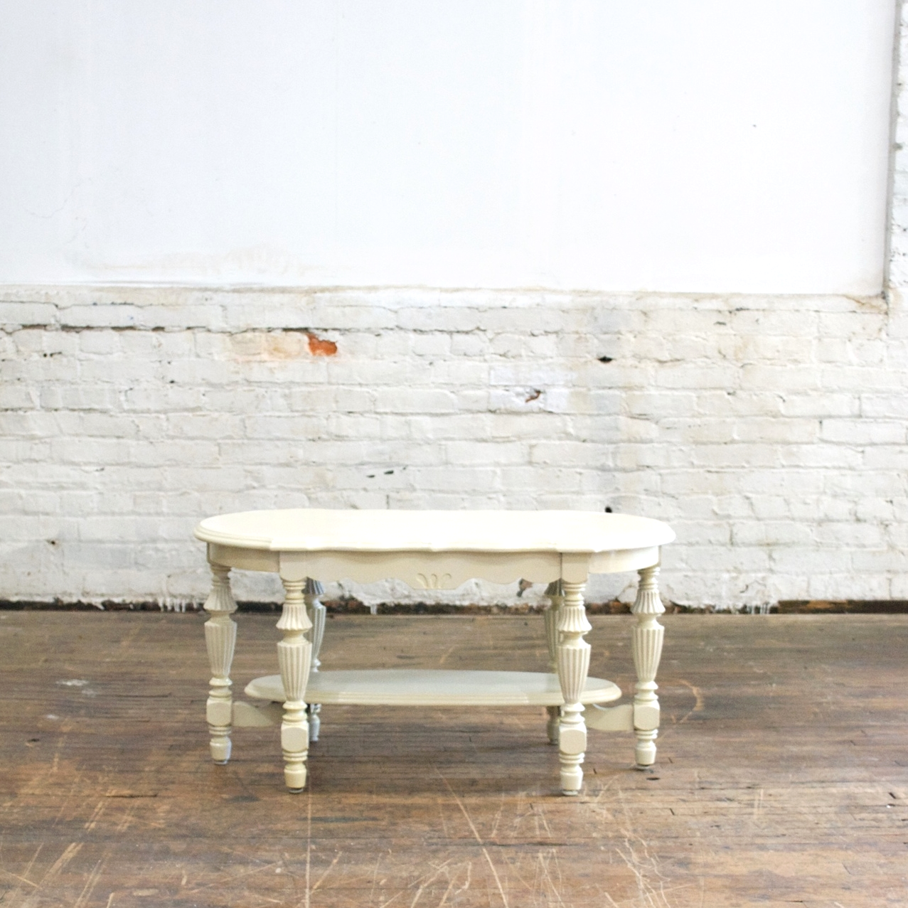 """White Coffee Table    $48    34""""w, 18""""d, 18""""h"""