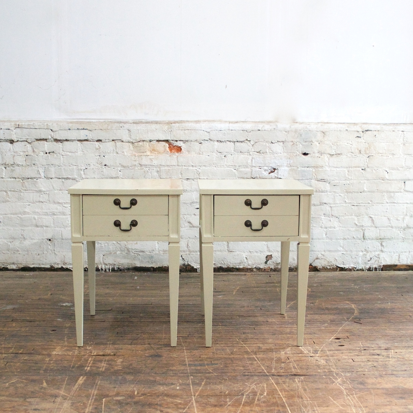 """Twin White Side Tables    $38 each    17""""w, 25""""d, 25"""" h"""