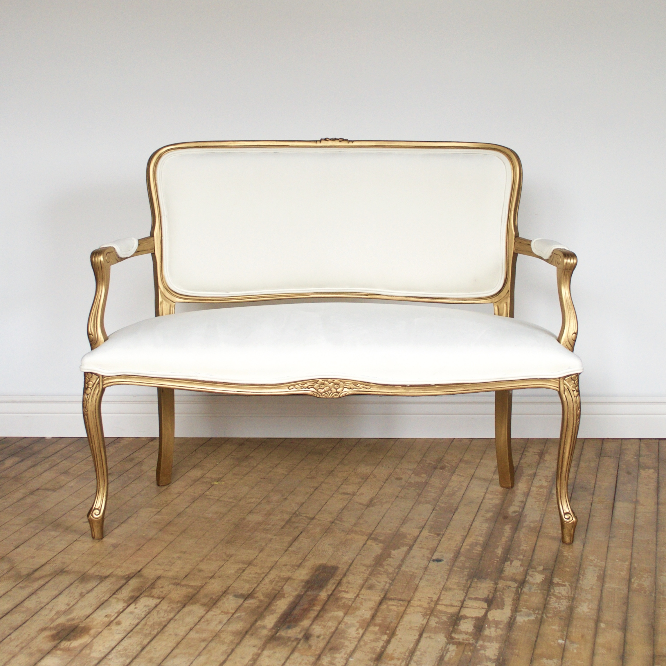 "Ms Goldfinger Settee    $150    4 ft w 2'd 3'2""h"