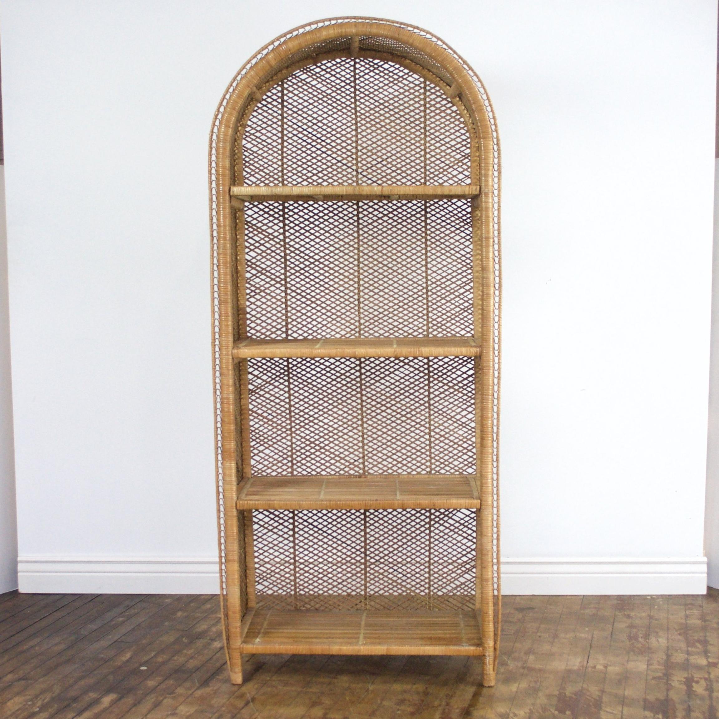 """Wicker Shelf    $40    31"""" w, 16"""" d, 71"""" h"""