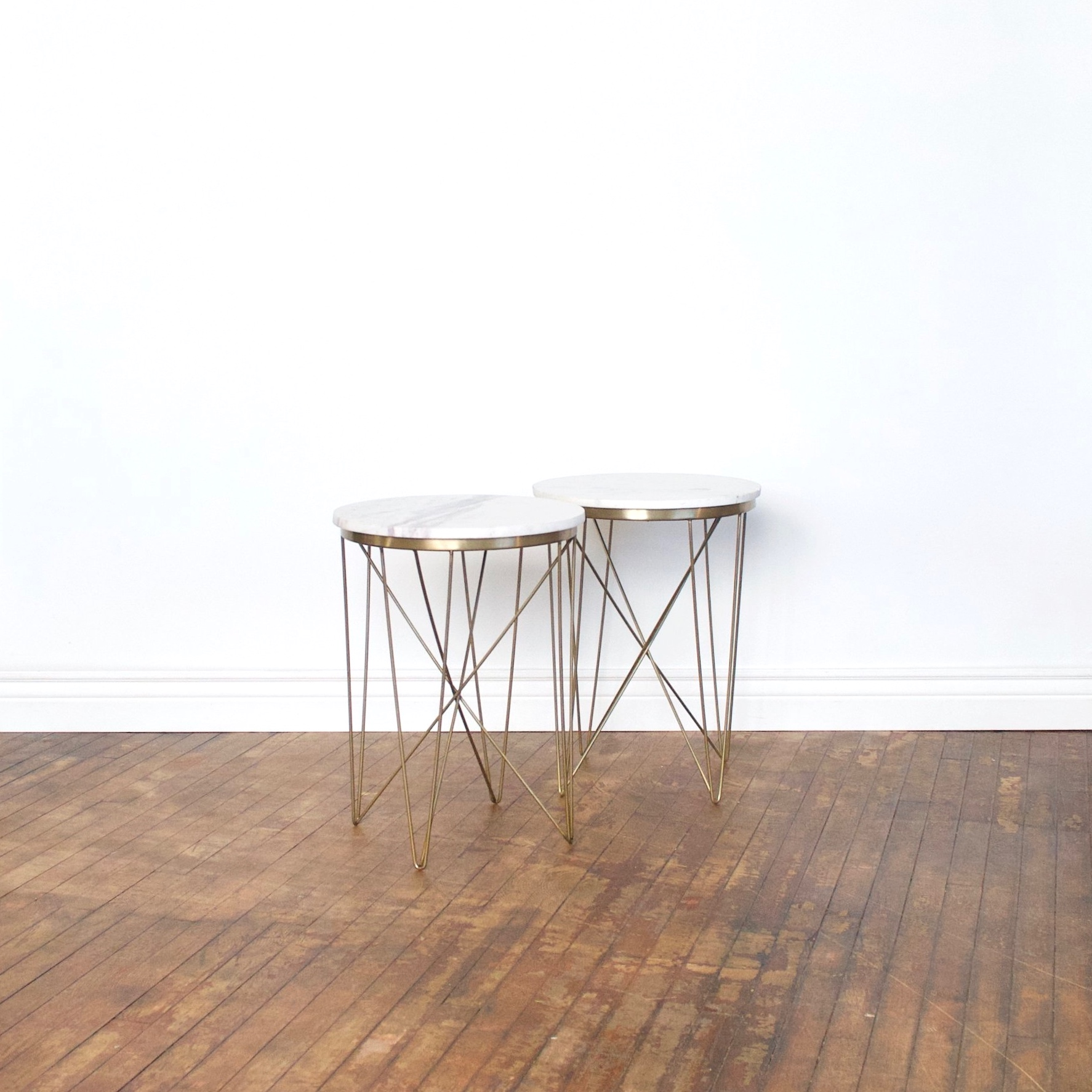 """Marble Top Table    $76 set    1'5"""" across, 2'10 1/2"""" high"""