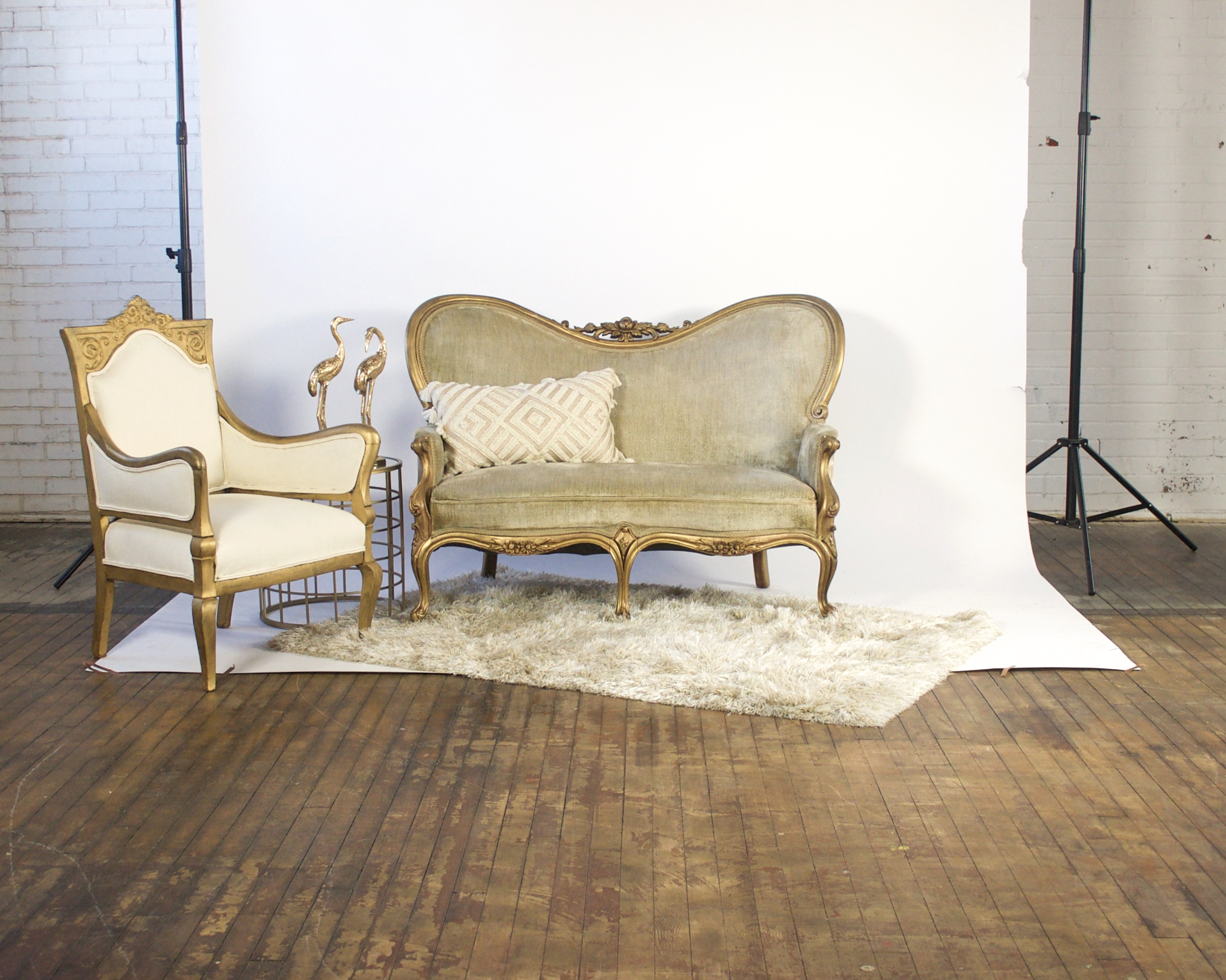 Goldie and Leo Petite - featuring shaggy champagne rug and mirror top table