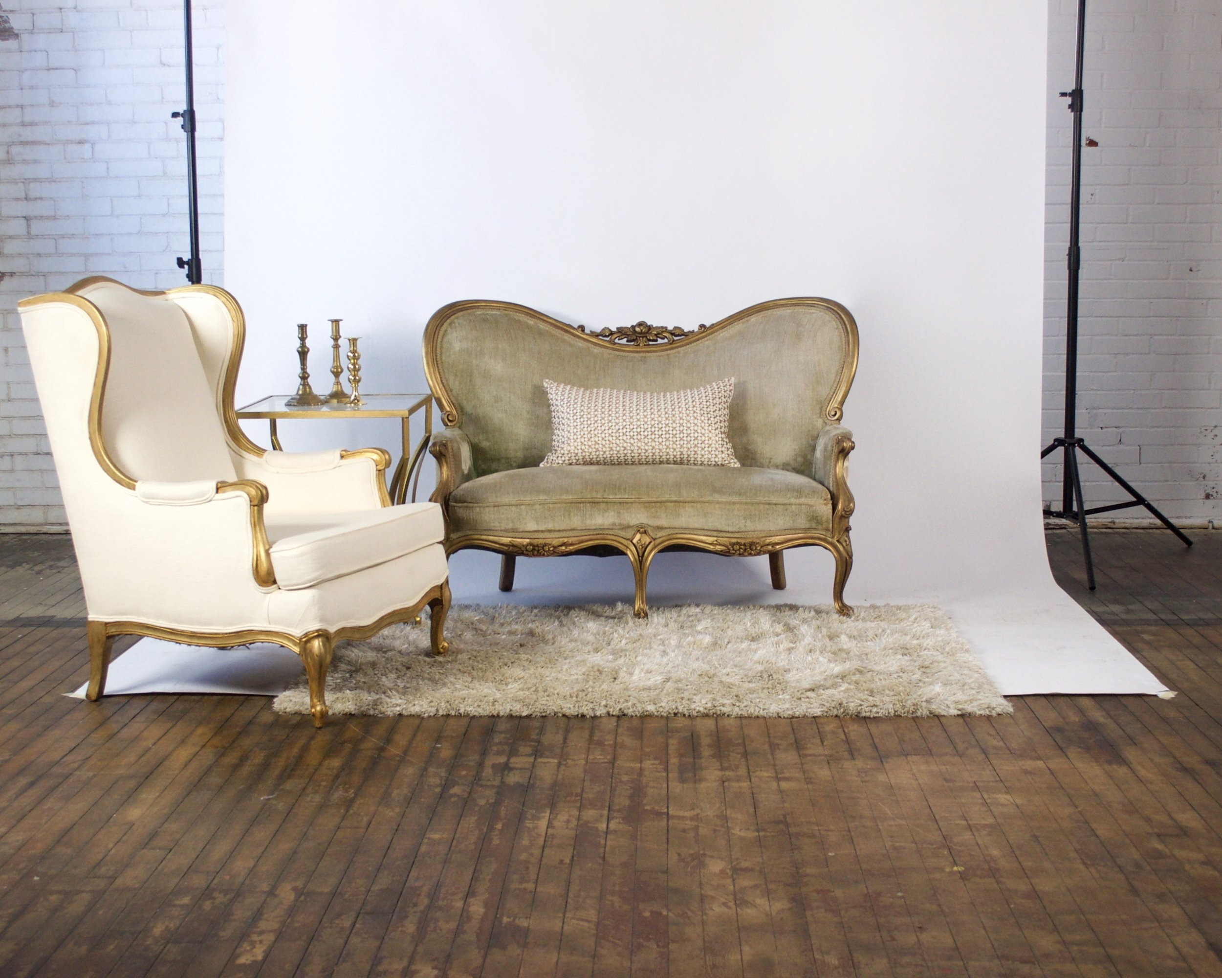 Goldie and Golden Ticket Petite - featuring shaggy champagne rug and gold square top table