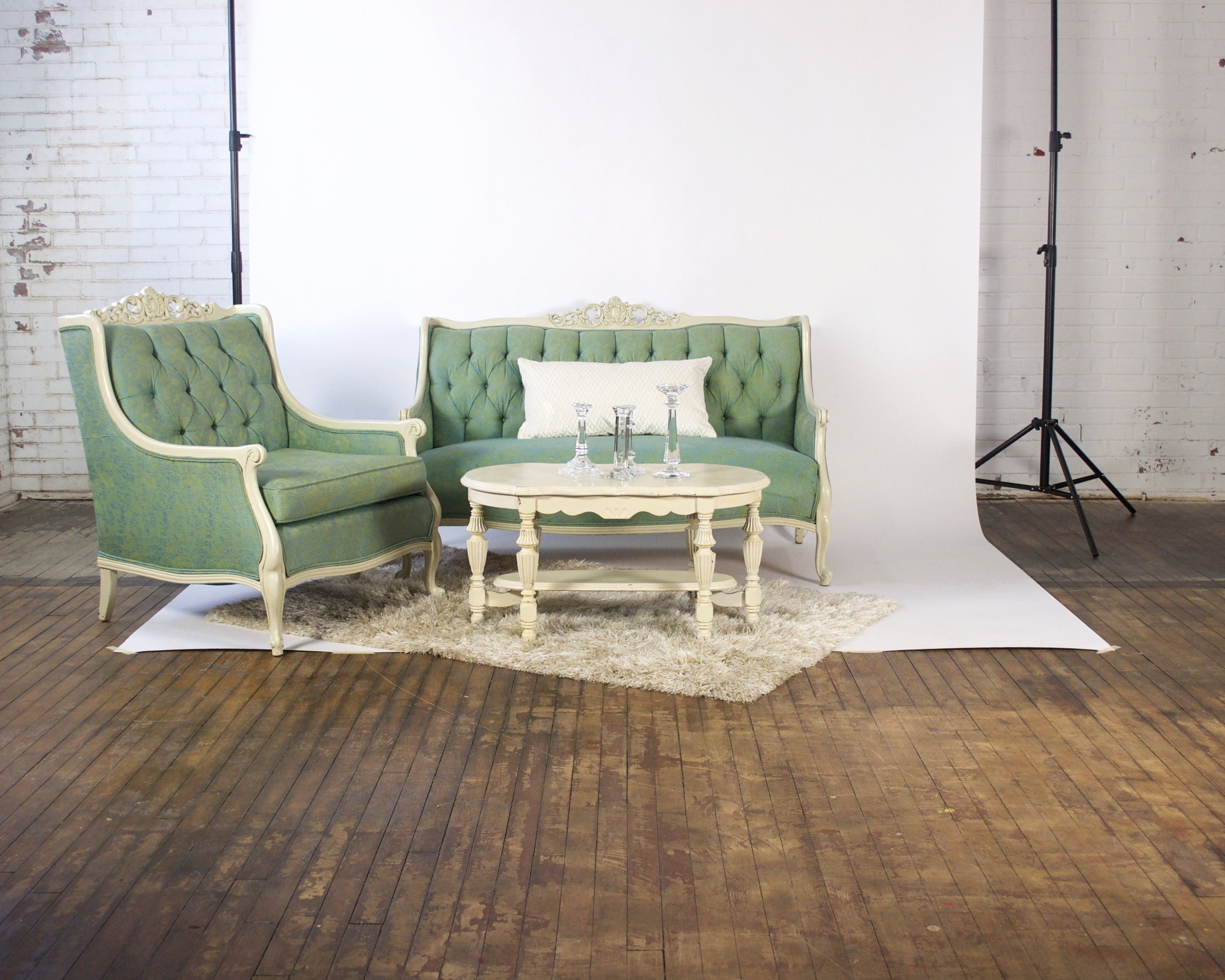 Mint and Mint Petite - featuring shaggy champagne rug and white coffee table