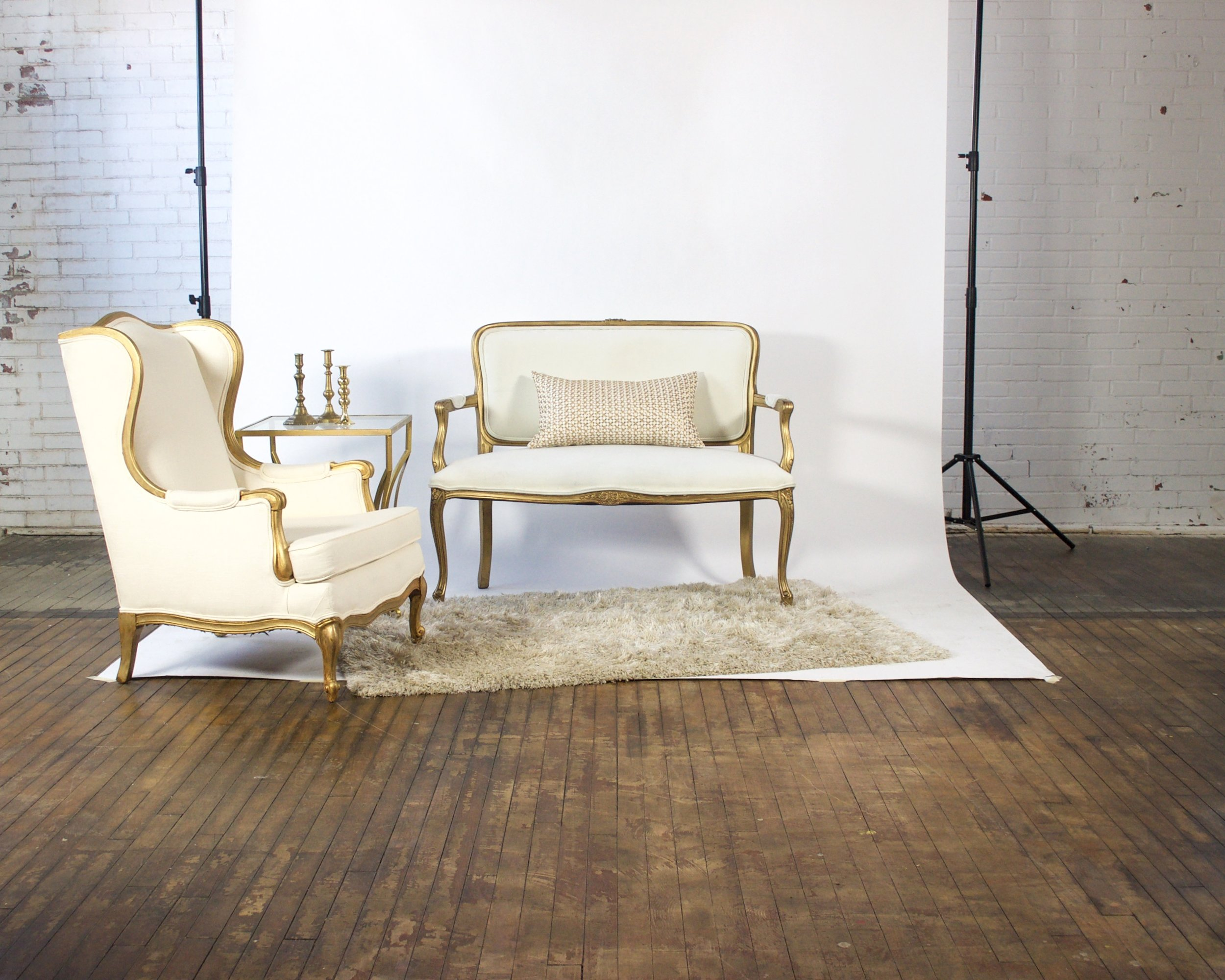 Goldfinger and Golden Ticket Petite - featuring shaggy champagne rug and gold square top table