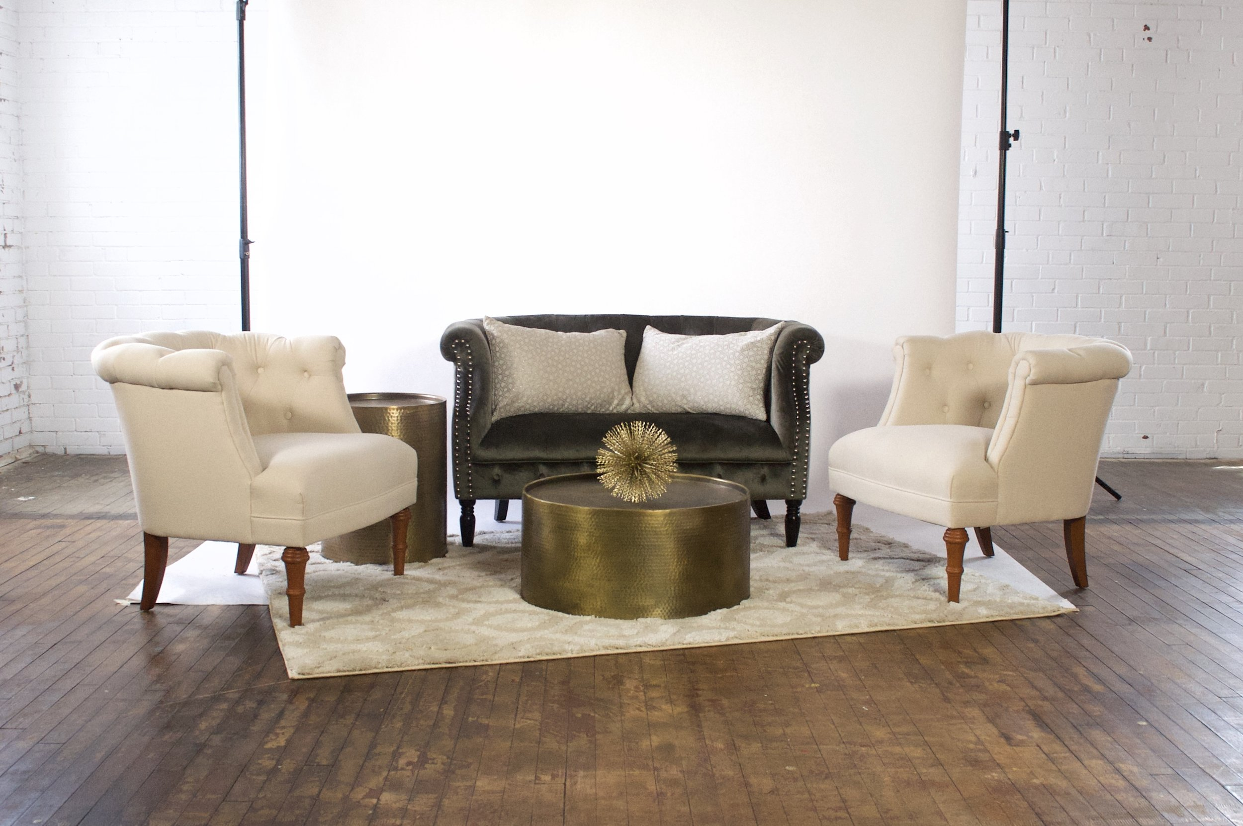 Digory and Bonnie Demi - featuring moroccan cream rug, dimpled brass tables
