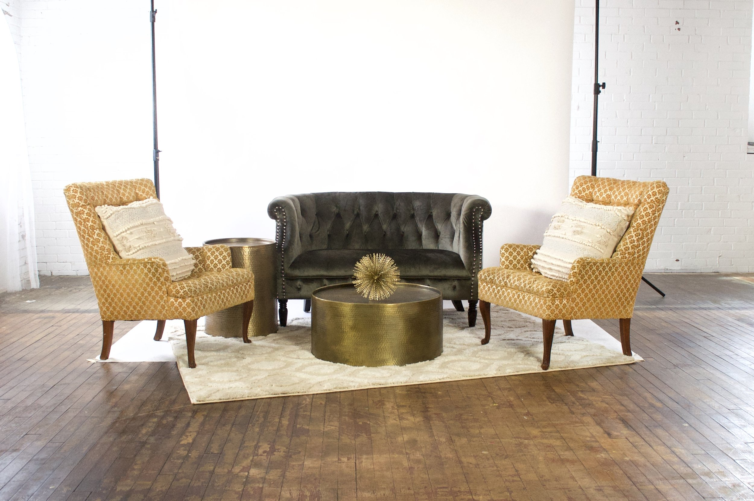 Digory and Seth Demi - featuring moroccan cream rug, dimpled brass tables