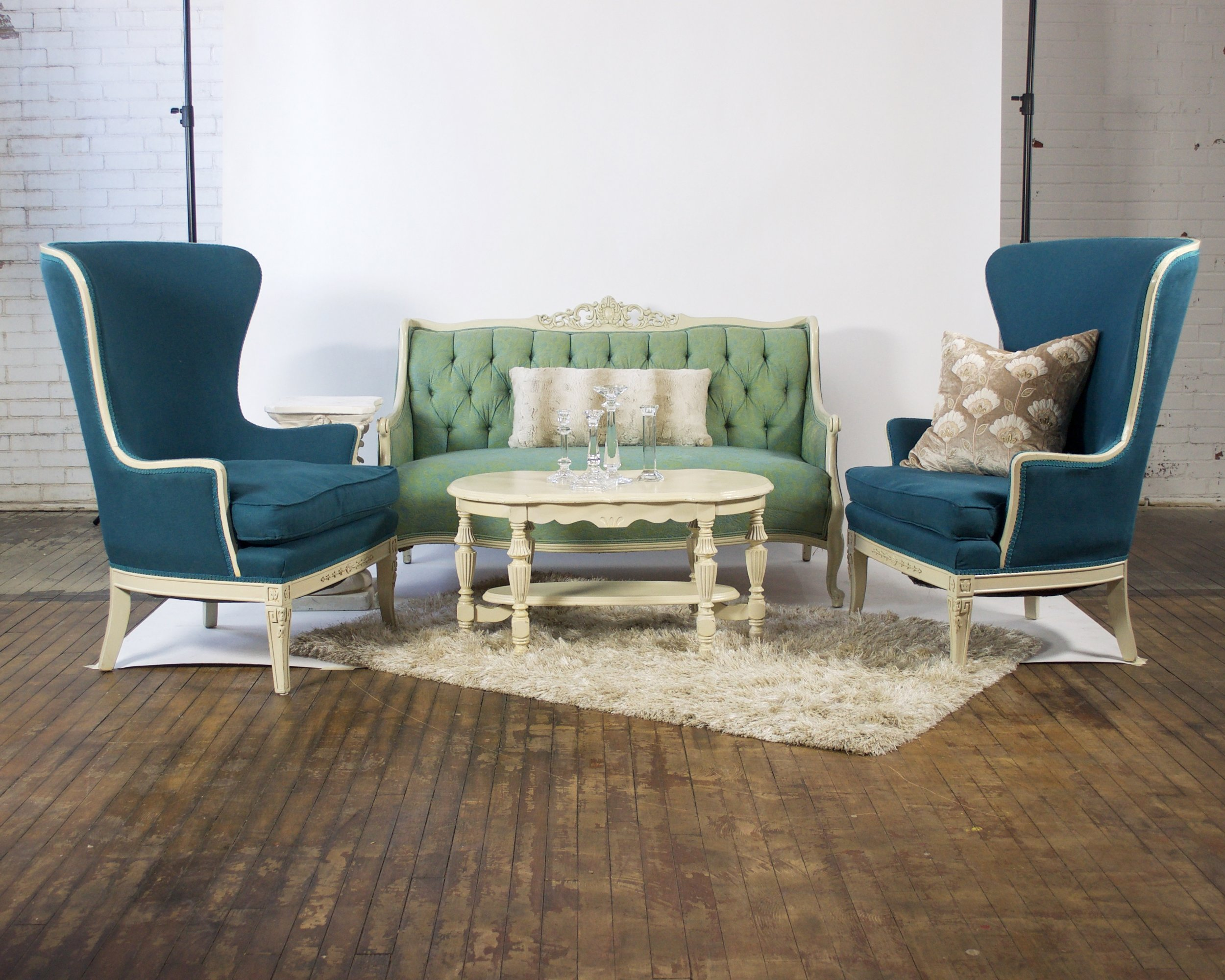 Mint and Meryl Demi - featuring shaggy champagne rug, white coffee table and white pedestal