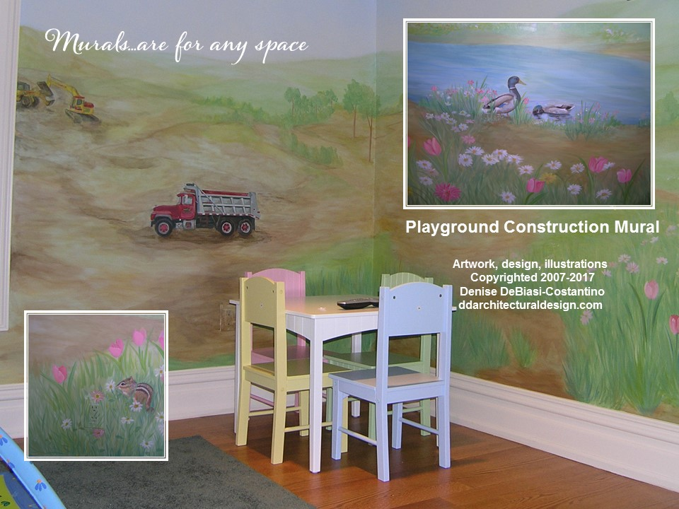 Playground construction- themed, wrapped around room floor to ceiling