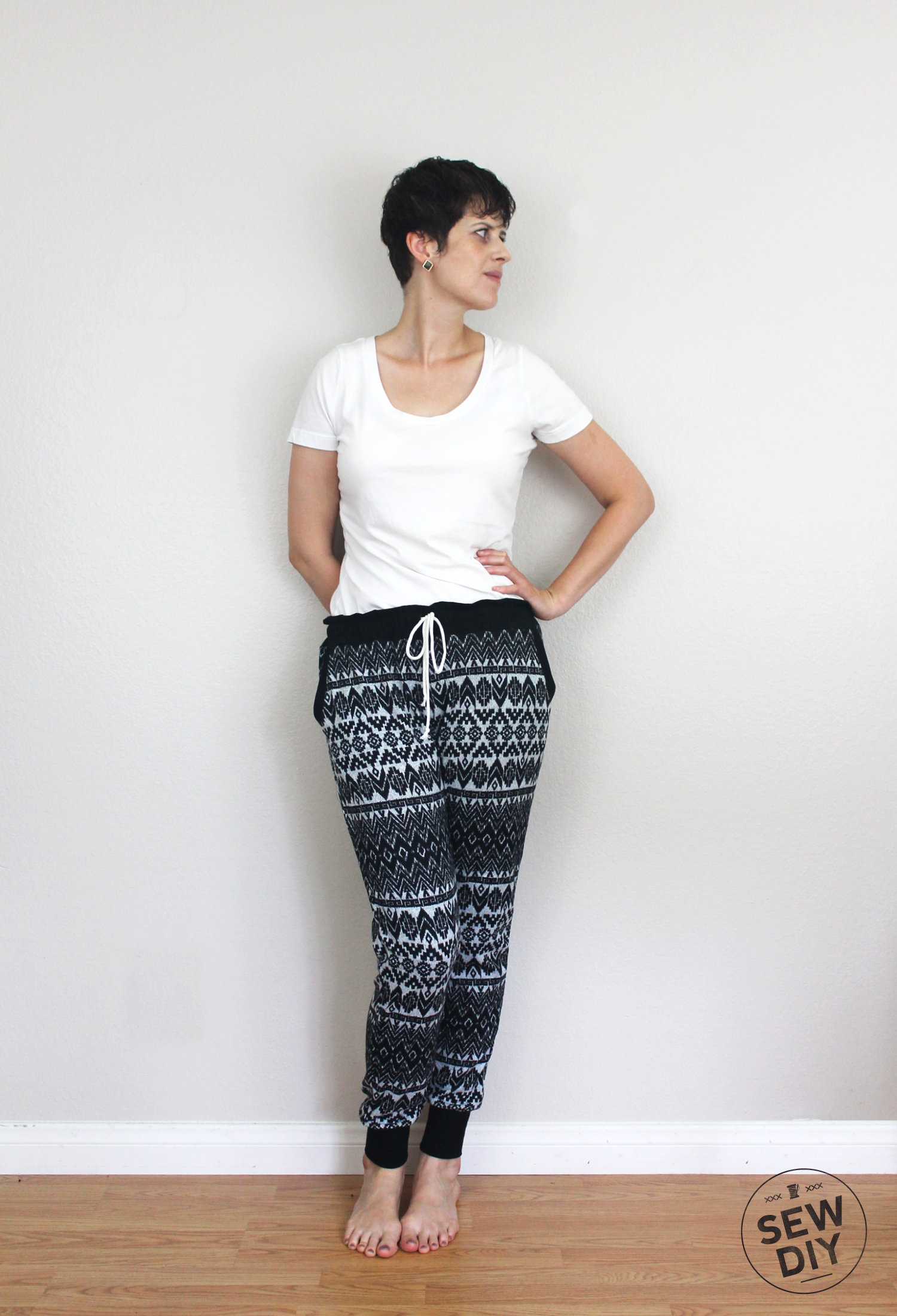DIY Fair Isle Sweater Knit Hudson Pants Outfit Front