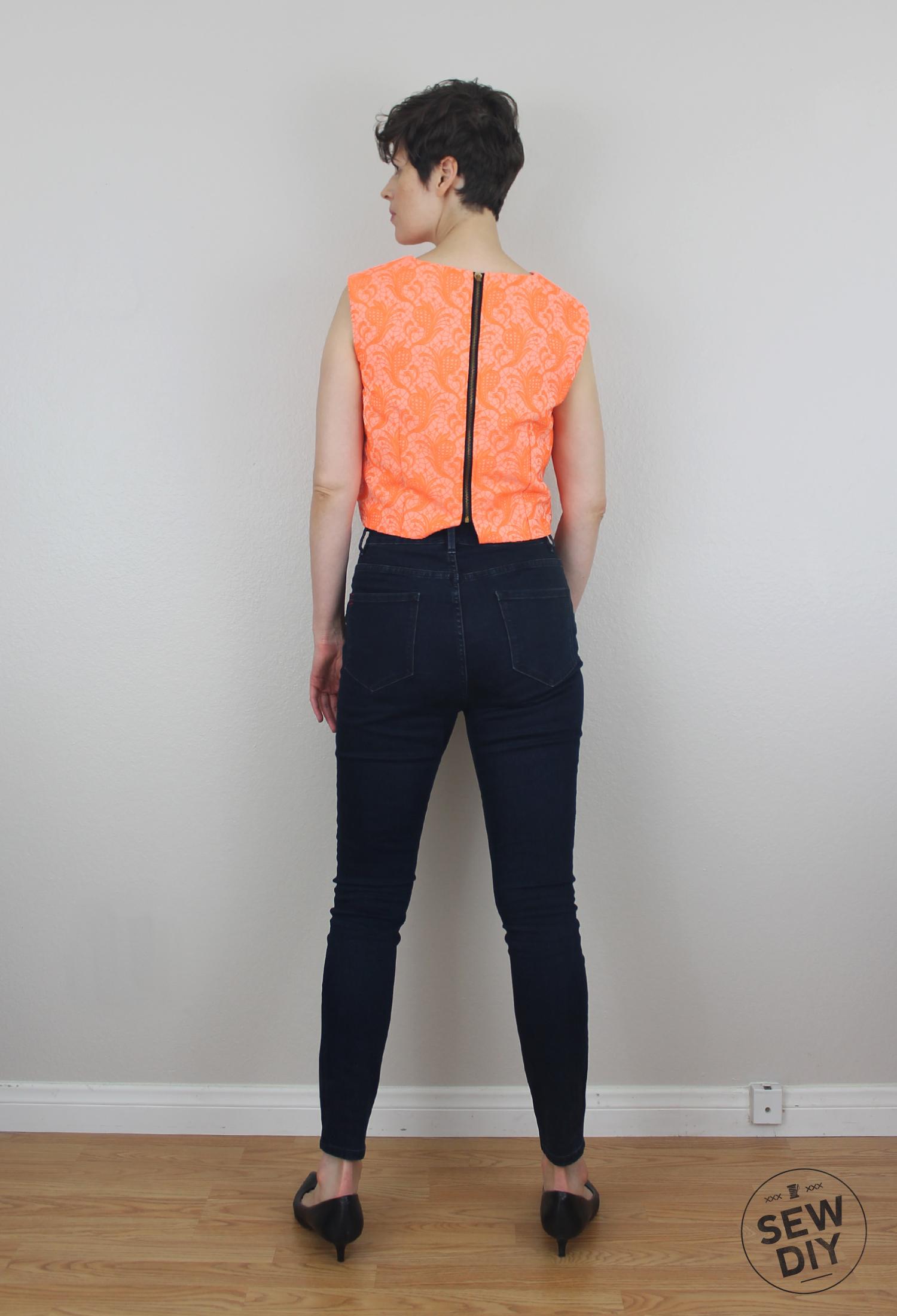 Sew DIY Brocade Crop Top Back