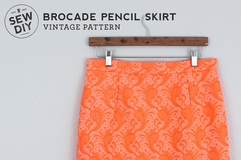 Sew DIY Neon Orange Brocade Pencil Skirt