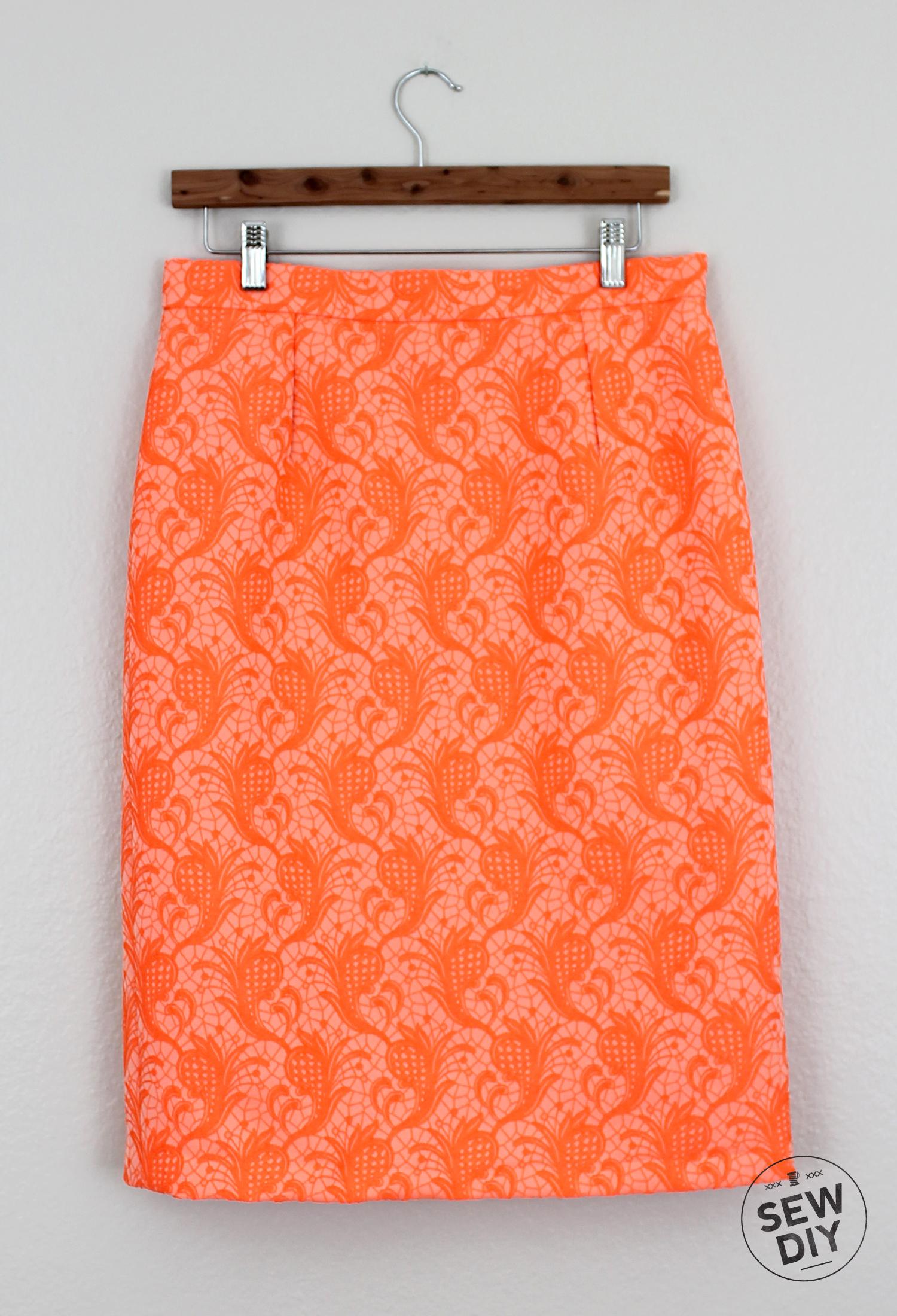 Sew DIY Orange Brocade Skirt Front