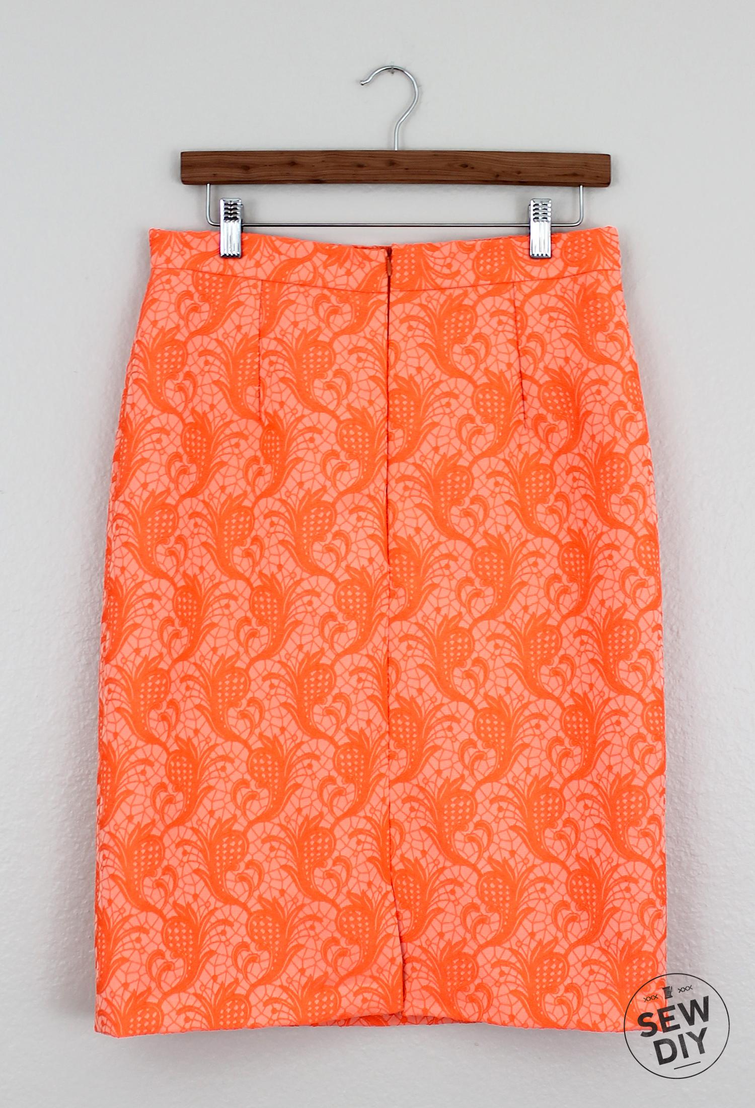 Sew DIY Orange Brocade Skirt Back